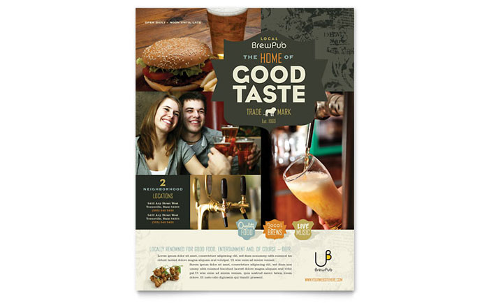 Brewery & Brew Pub Flyer Template - Word & Publisher