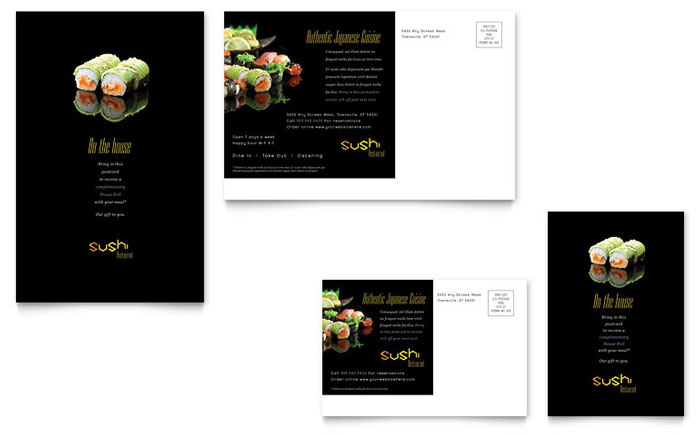 sushi restaurant postcard template
