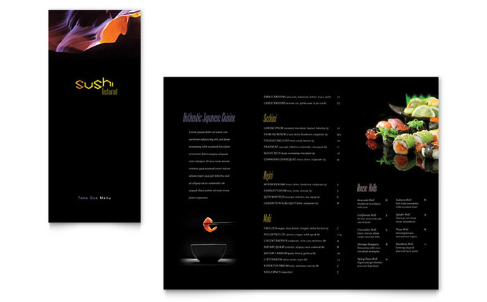 Sushi restaurant take out brochure template word publisher