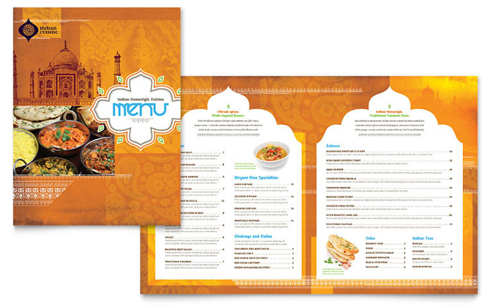 Indian Restaurant Menu Template Word Publisher – Word Restaurant Menu Template