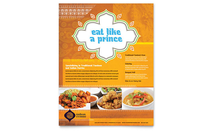 Indian Restaurant Flyer Template - Word & Publisher