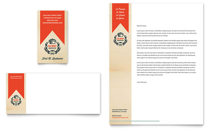 Culinary School Business Card & Letterhead Template - Word & Publisher