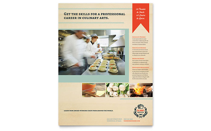 Culinary School Flyer Template - Word & Publisher