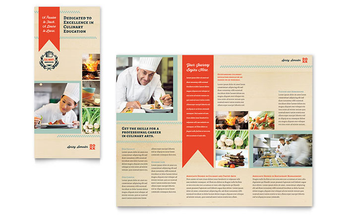 Culinary school tri fold brochure template word publisher for Microsoft works templates brochure