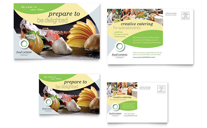 Food Catering Postcard Template - Word & Publisher