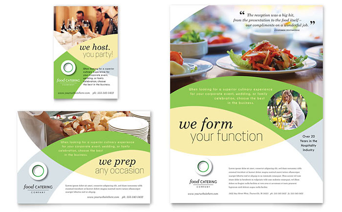 Food catering flyer ad template word publisher for Free food brochure templates