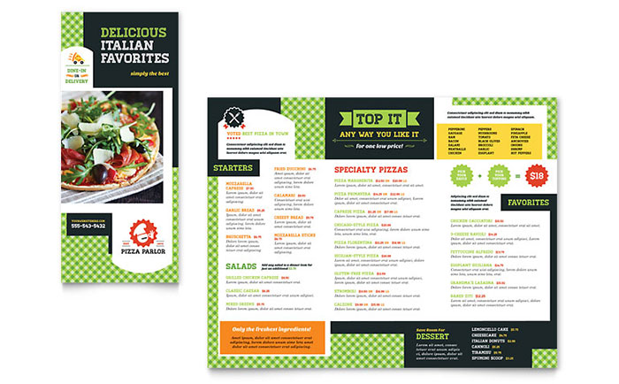 Pizza Parlor Take-out Brochure Template - Word & Publisher