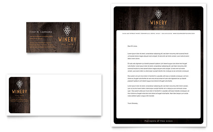 Winery Business Card & Letterhead Template - Word & Publisher