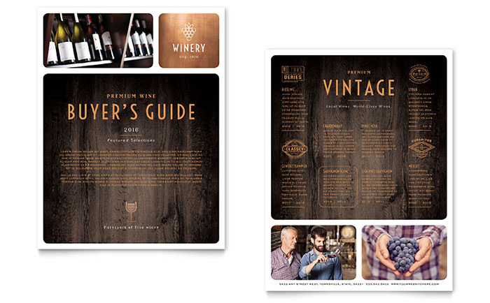 Winery Datasheet Template - Word & Publisher