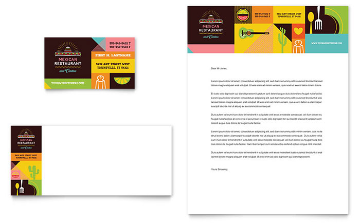 Mexican Food & Cantina Business Card & Letterhead Template - Word & Publisher