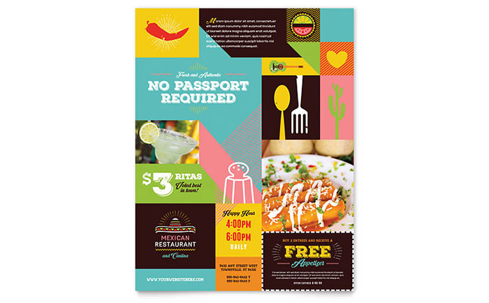 Mexican Food & Cantina Flyer Template - Word & Publisher