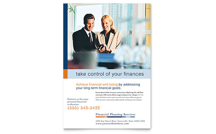 Financial Planning & Consulting Flyer Template - Word & Publisher