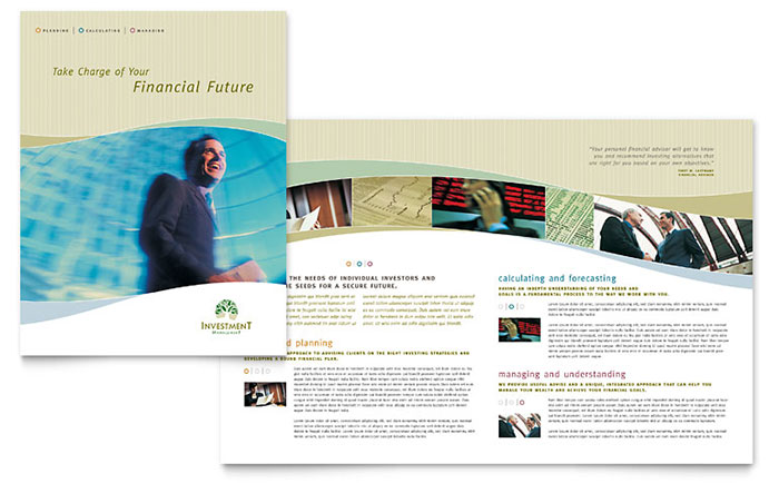 brochure publisher templates free - investment management brochure template word publisher
