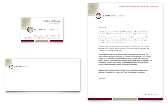 Financial Consulting Business Card & Letterhead Template - Word & Publisher