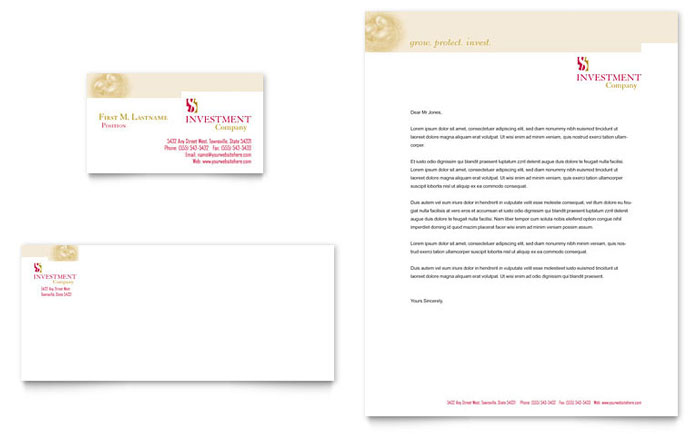 Investment Company Business Card & Letterhead Template - Word & Publisher