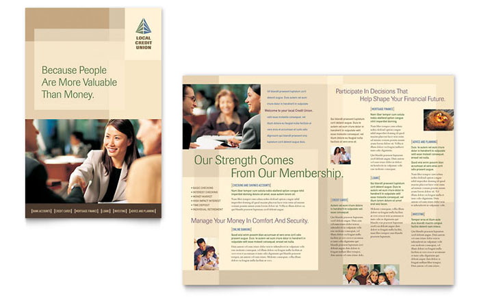 Credit Union & Bank Brochure Template - Word & Publisher