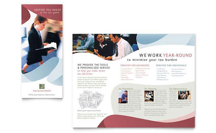 Tax accounting services brochure template word publisher for Brochure design services