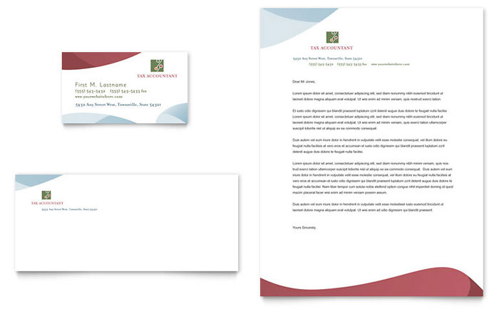 Tax Accounting Services Business Card & Letterhead Template - Word & Publisher