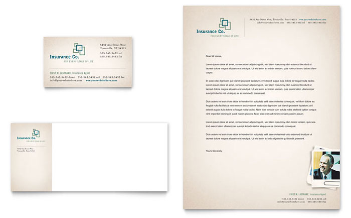 Life Insurance Company Business Card & Letterhead Template - Word & Publisher