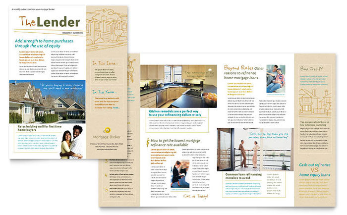 11x17 half fold brochure template - mortgage broker newsletter template word publisher