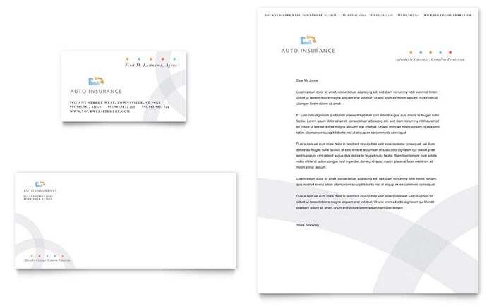 Car Insurance Company Business Card & Letterhead Template - Word & Publisher