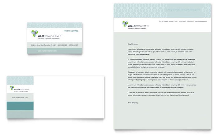 Wealth Management Services Business Card & Letterhead Template - Word & Publisher