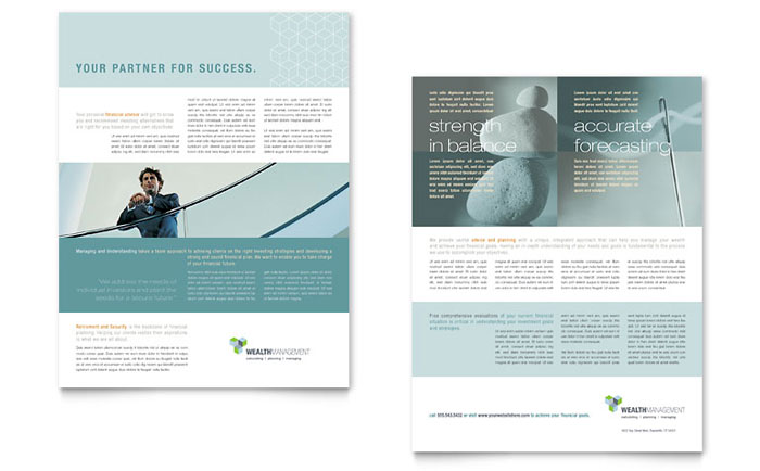 managed services brochure template - wealth management services datasheet template word