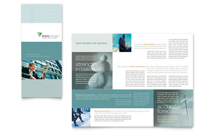 Wealth management services tri fold brochure template for Microsoft tri fold brochure template
