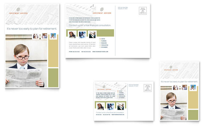 Investment Advisor Postcard Template - Word & Publisher