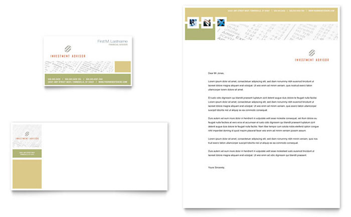 Investment Advisor Business Card & Letterhead Template - Word & Publisher