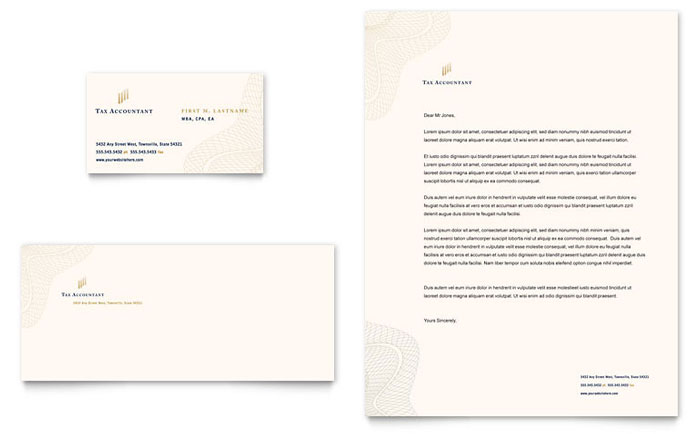 CPA & Tax Accountant Business Card & Letterhead Template - Word & Publisher