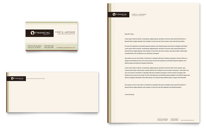 Financial Planner Business Card & Letterhead Template - Word & Publisher