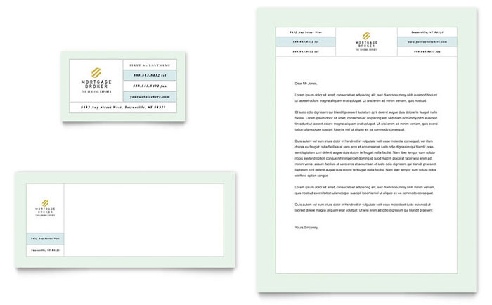 Mortgage Lenders Business Card & Letterhead Template - Word & Publisher