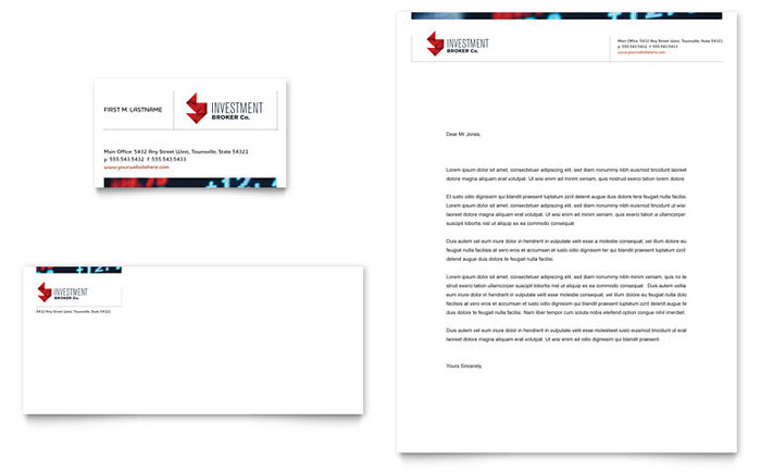 Investment Bank Business Card & Letterhead Template - Word & Publisher