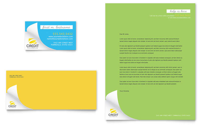 Consumer Credit Counseling Business Card & Letterhead Template - Word & Publisher