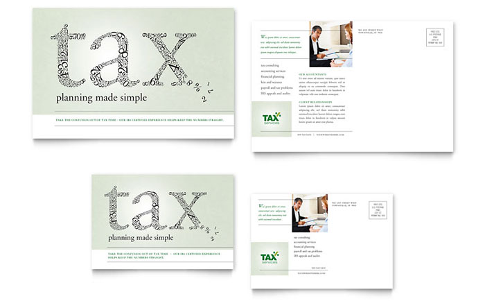 accounting  u0026 tax services postcard template