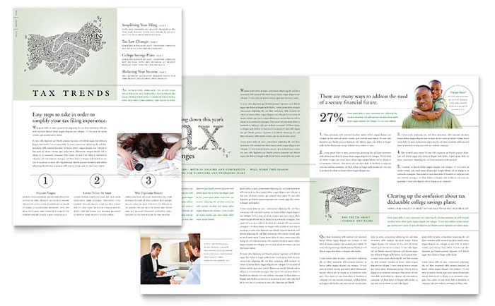 Accounting & Tax Services Newsletter Template - Word & Publisher