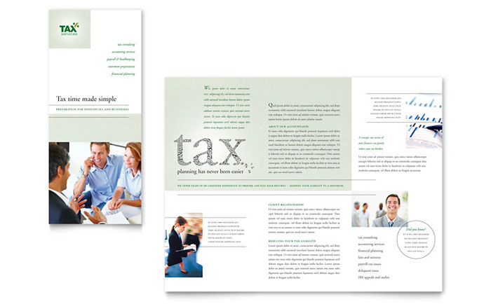 Accounting tax services tri fold brochure template for Free bookkeeping brochure templates