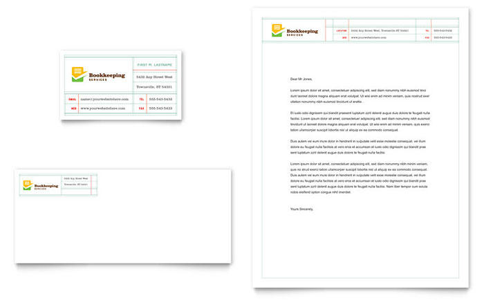 Bookkeeping Services Business Card & Letterhead Template - Word & Publisher