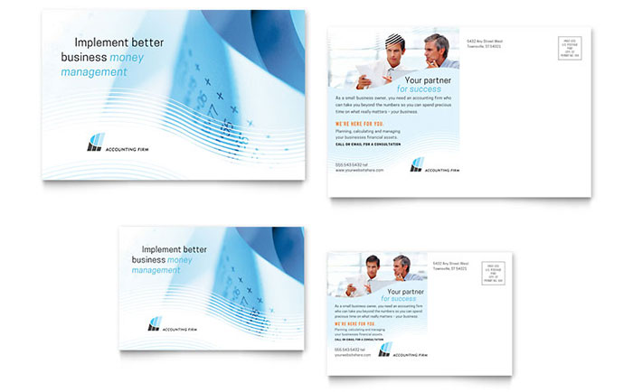 Accounting Firm Postcard Template - Word & Publisher