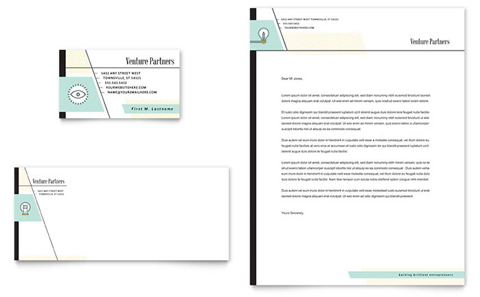Venture Capital Firm Business Card & Letterhead Template - Word & Publisher