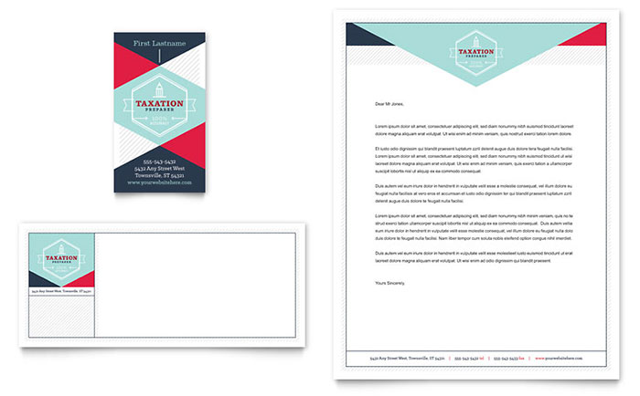 Tax Preparer Business Card & Letterhead Template - Word & Publisher