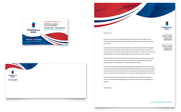 Bank Business Card & Letterhead Template - Word & Publisher