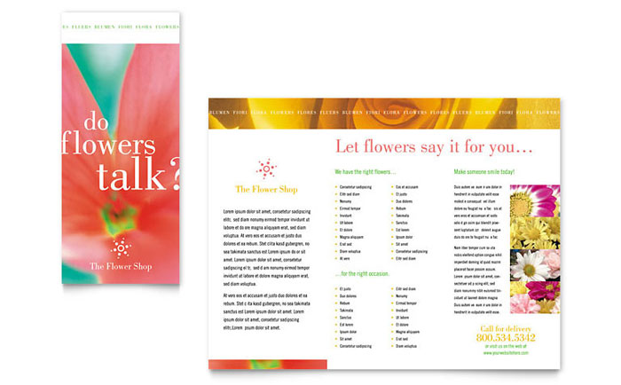 Florist shop brochure template word publisher for Publisher template brochure