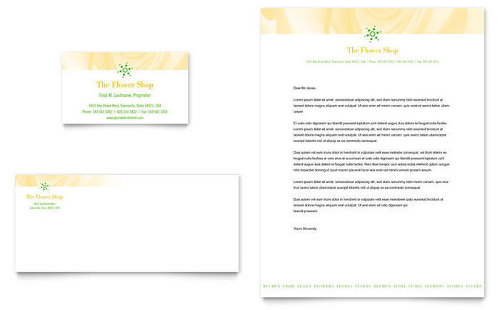 Florist Shop Business Card & Letterhead Template - Word & Publisher