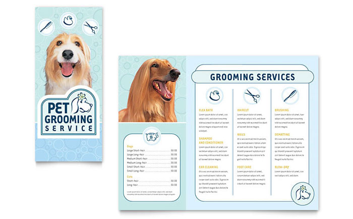 Pet Grooming Service Brochure Template - Word & Publisher