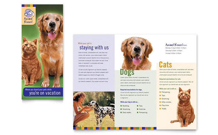 Dog kennel pet day care brochure template word publisher for Dog adoption flyer template