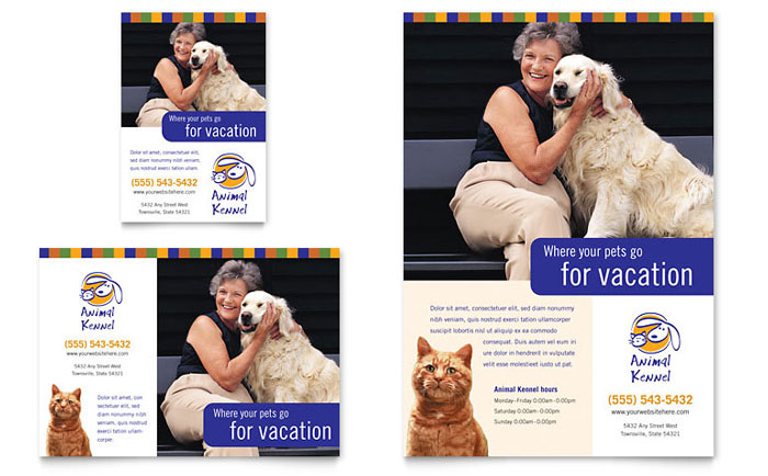 dog kennel  u0026 pet day care flyer  u0026 ad template