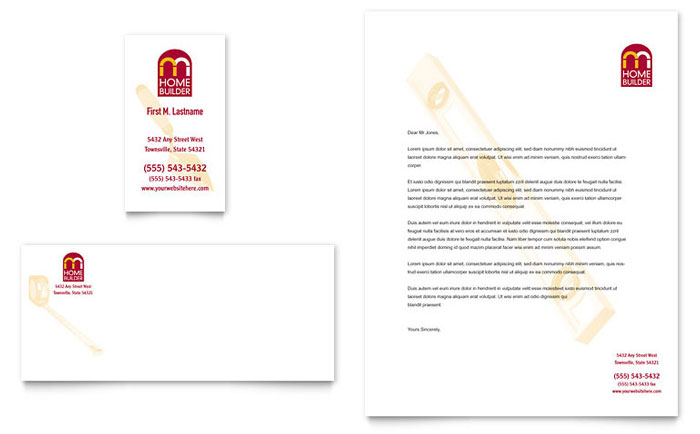 Home Builder & Contractor Business Card & Letterhead - Word Template & Publisher Template