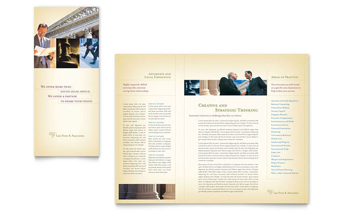 Attorney legal services brochure template word publisher for Microsoft office publisher templates for brochures